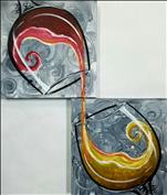 Wine on Swirls SET or SINGLE Canvas