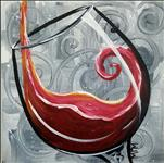 "Red Wine on Swirls **12x12"" Canvas!**"
