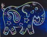 Neon Paisley Elephant (Kids 8 and up)