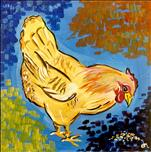*Thick 12x12 Canvas* Vibrant Hen II
