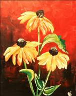 Black Eyed Susans on Red