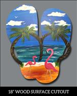 Flamingo Flip Flop-Wood Door or Wall Decor