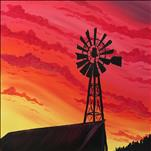 Country Windmill Sunset Silhouette