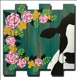 Floral Cow Wood Cutout