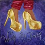 Golden Walk By Faith 18+  Square Canvas