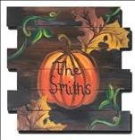 Rustic Family Pumpkin on our wooden cutout!