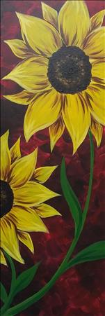 *PUBLIC*  Sunflower on Red  10x30 Canvas