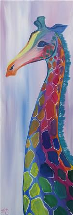 A Pastel Giraffe on our New 10x30 Canvas