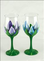 Blooming Tulips Wine Glasses