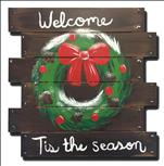 Tis the Season Wreath Wooden Door Hanger