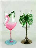 Flamingo and Palm Tree Wine Glass Set
