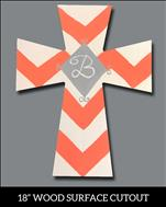 Chevron Cross Monogram with Swirls Cutout