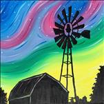 Country Windmills Color Silhouette