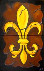 Couples Cracked Fleur de Lis set