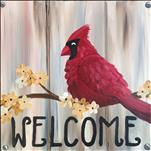 "12""x12"" SQUARE Canvas! Welcoming Cardinal"