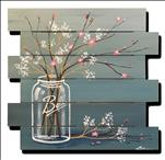 Mason Jar Cherry Blossoms Wood Pallet