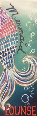 Mermaid Lounge on a Real Wood Board OR Canvas!