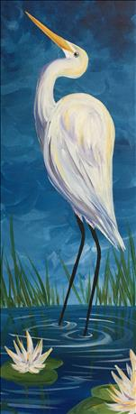 Egret Among the Lilies..10x30  Makes a Great Gift