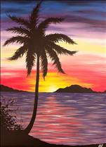 Palm Paradise - LARGE Canvas! *Wine included!