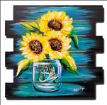 Happy Sunflowers Pallet Art - Family Friendly
