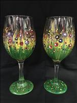 Bursting Blooms- Set of 2 wine glasses
