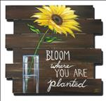 Sunflower in Vase | Wood Pallet