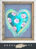 NEW! Rebeca Flott Screen Art Flourishing Heart $45