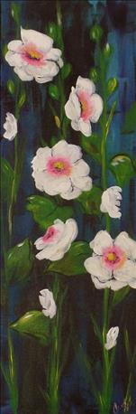 NEW! Harmonious Hollyhocks 10x30 Canvas $35