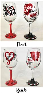 Valentine Wine Puns - Glassware Set