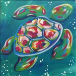 Square (12x12) Canvas! Colorful Sea Turtle