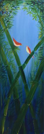 Birds and Bamboo ....Looong Canvas