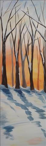 NEW ART- Winter's Glow on a 10X30 Canvas!