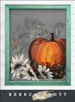 Screen Art - Autumn Leaves and Pumpkins Please