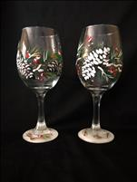 Pinecone Glassware Set of 2 - Free Glass Of Wine!