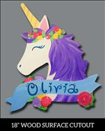 Floral Unicorn Wood Cutout for HER Bedroom Door!