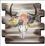 Flower Crown Deer Skull Wood Pallet
