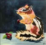 NEW ART- Cheery Chipmunk on a 12X12 Canva-$30