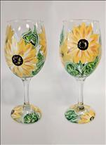 Sunflower **2 Wine Glasses**
