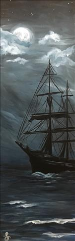 *10x30in CANVAS* Blackbeard's Moonlight Run