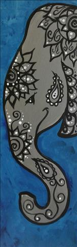 Blue and Silver Paisley Elephant!