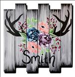 *Wood Art!* Rustic Antler Sign Pallet