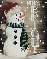 Merry & Bright Rustic Snowman 16X20 NEW ART!