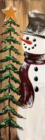 Warm Rustic Snowman lighted Canvas