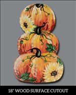 "*NEW! - Bright Pumpkins 18"" Wood Cutout"