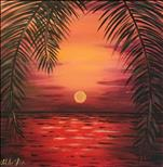 Romantic Red Sunset 12x12 ($30)