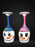 Snowbuddies Candleholders/Wine Glass Set