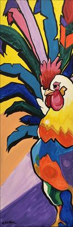 10x30 Canvas, Rainbow Rooster