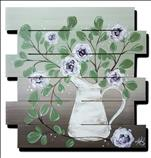 Eucalyptus and Flowers! On a Wood Pallet