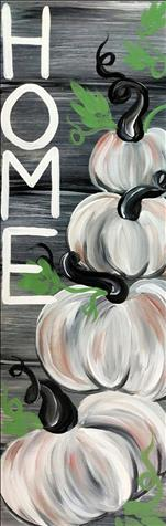 Rustic White Pumpkins-Long Canvas