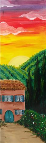 LONG CANVAS-Tuscan Vineyard at Sunset